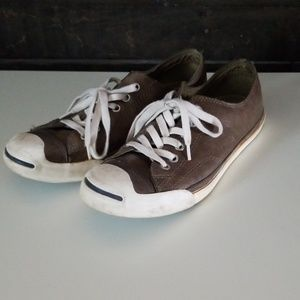 Converse Jack Purcell brown leather sneakers